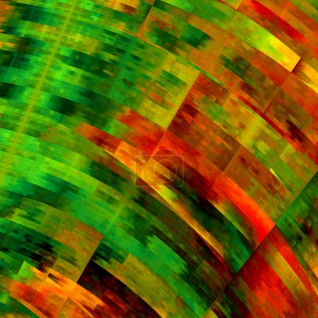 Messy Colorful Art Background. Multicolored Abstract Grunge. Creative Geometric Pattern. Beautiful Digital Fractal Illustration. Computer Generated Image Design. Green Orange Red Texture. Wallpaper.