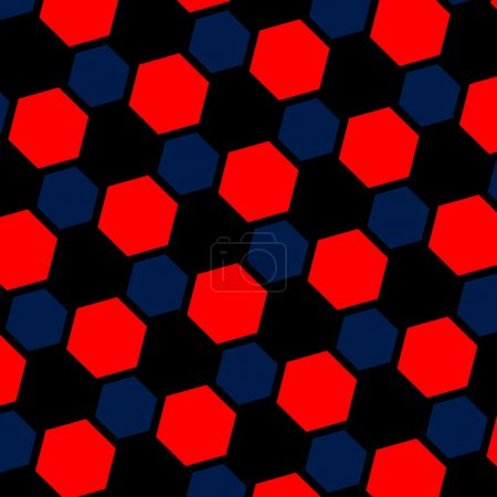 Abstract blue red hexagon illustration. Macro background. Pattern for web page. Art design. Computer generated. Modern honeycomb structure. Tiles with black holes. Wallpaper tile. Texture.