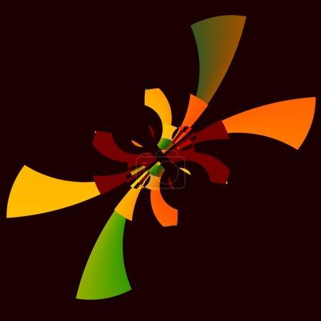 Photo pour Courbes circulaires ornées. Cool formation inhabituelle. Art de fond abstrait. Conception de motif de symétrie. Image surréaliste irréelle. Tourbillon d'arcs distinctifs. Idée peu commune de surréalisme. Oeuvres décoratives modernes. Économiseur d'écran à arc stylistique. Décoration colorée . - image libre de droit