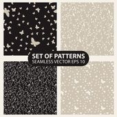 Set seamless graphic pattern of butterflies and birds 10 eps