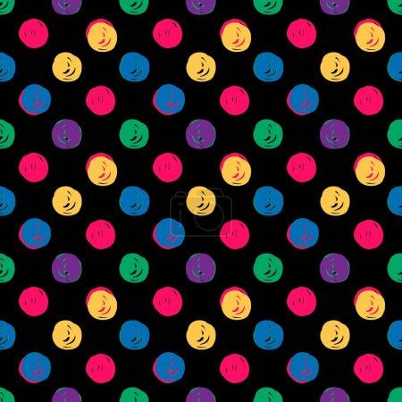 Illustration for Hand Drawn Polka Dots Seamless Texture. seamless pattern with hand drawn circles color - Royalty Free Image