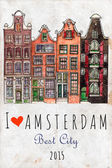 Traditional old buildings in Amsterdam Hand drawing city skyline Watercolor old houses in Amsterdam for travel postercity symbols for postcards card boards I love Amsterdam