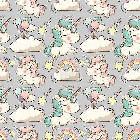 Photo pour Modèle vectoriel avec de jolies licornes, nuages, arcs-en-ciel et étoiles. Fond magique avec de petites licornes - image libre de droit