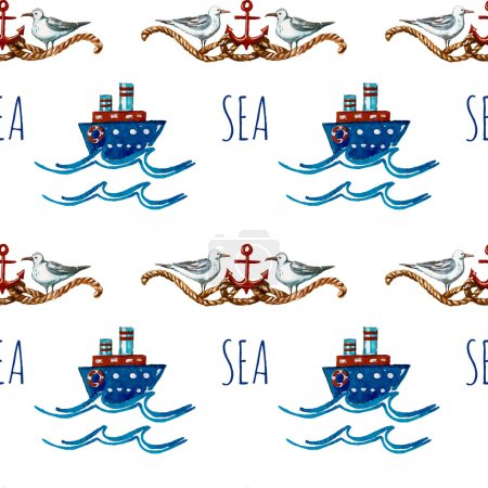 Seamless watercolor pattern with boats