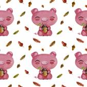 Lovely cute pattern with pigs