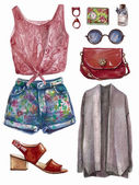 Vector hand drawn collage of summer or spring girl clothing and accessories isolated on white background Outfit of casual and hipster woman style Create by watercolor