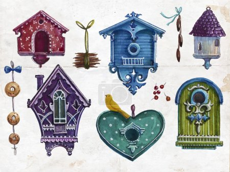 Watercolor birdhouses collection