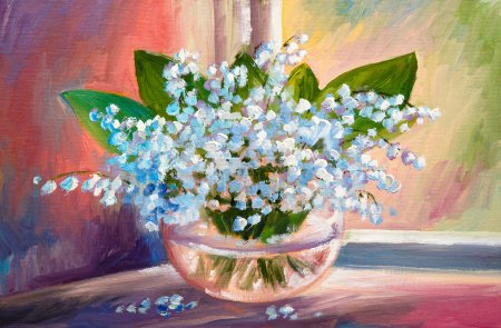 Живопись маслом весенней лилии долины цветы в вазе на холсте, произведения искусства
