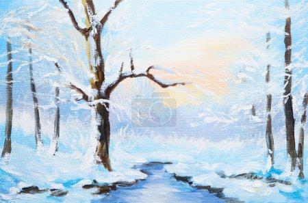 Peinture à l'huile paysage d'hiver, frozen river dans la forêt, aquarelle coloré