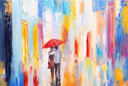 Photo for Couple is walking in the rain under an umbrella. abstract colorful oil painting - Royalty Free Image