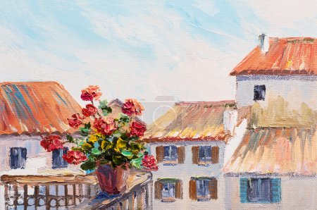 Red roses in balcony, beautiful rooftops in summer, colorful oil painting