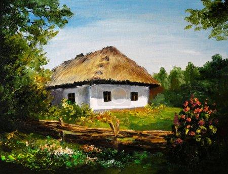 Ölgemälde - Haus im Dorf, Kunstwerk