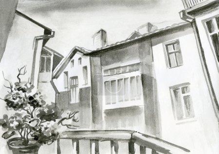 Photo pour Peinture à l'aquarelle, crayonnage, vue de la fenêtre sur un beau bâtiment, architecture, fleurs, noir-blanc - image libre de droit