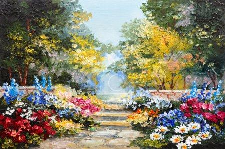 Photo pour Peinture à l'huile paysage - forêt d'été colorée, belles fleurs - image libre de droit