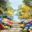 Oil painting landscape - colorful summer forest, b...