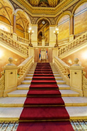 Photo for Interior of classic building with luxury ornaments, marble and glass - Royalty Free Image