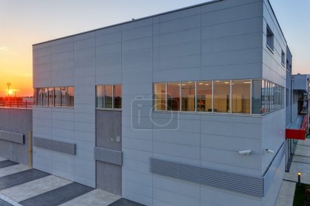 Photo for Details of aluminum facade and aluminum panels on industrial building - Royalty Free Image