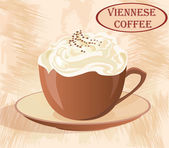 A Cup of coffee with whipped cream on grunge background