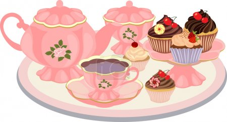 Kettle, cup, sugar bowl, vase with cupcakes on the table.