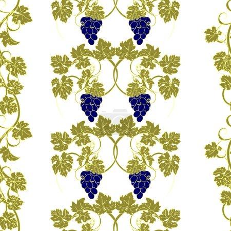 Illustration pour Motif répété avec des vignes et des grappes de raisins . - image libre de droit
