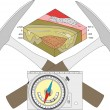 Vector image of a geological compass, two hammers ...