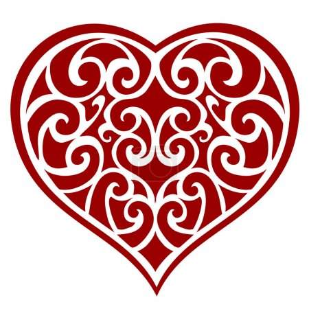 Illustration for The openwork silhouette of a heart is suitable for laser cutting. - Royalty Free Image