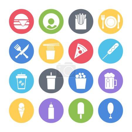 Illustration pour Jeu d'icônes de Fast-Food - image libre de droit