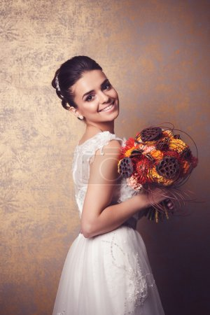 Beauty portrait of young bride. Perfect makeup and hairstyle.