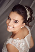 Krása portrét mladé nevěsty. Dokonalý make-up a účes