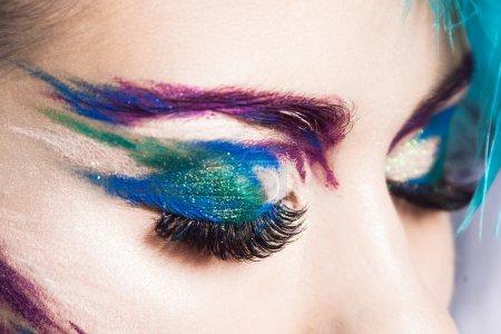 Shoot of details creative makeup. Bird eye