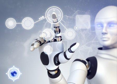 Photo pour Robot travaille avec écran tactile - image libre de droit