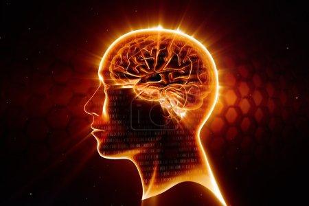Photo pour Tête d'homme avec cerveau brillant - image libre de droit