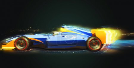 Formula One race car with light trail