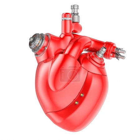 Photo for Mechanical Heart on a white background. Clipping path included - Royalty Free Image