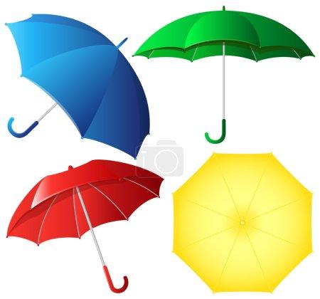 Colorful umbrellas vector set