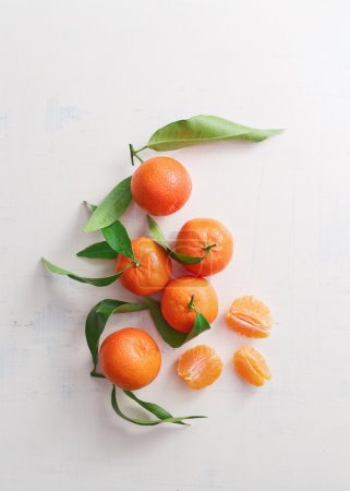 Sweet tangerines with leaves