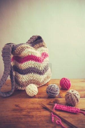 Handmade bag with balls of wool