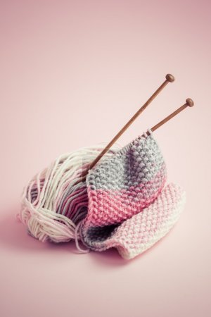 Photo for Pink Knitting accessories close up - Royalty Free Image