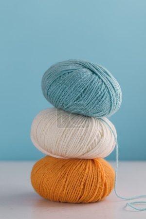 Colorful skeins of yarn