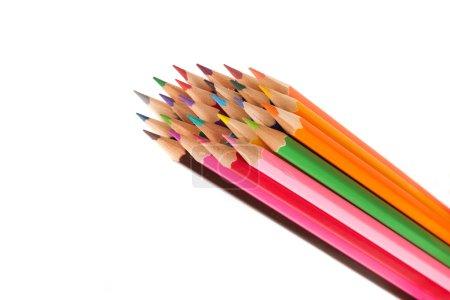 Photo pour Ensemble de crayons colorés isolés sur fond blanc - image libre de droit