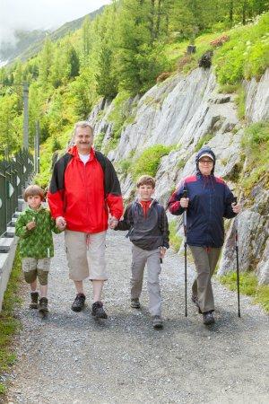 Family on mountain road