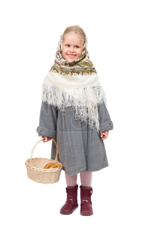 Photo for Small girl in traditional Russian kerchief with wicker basket, isolated on white background - Royalty Free Image