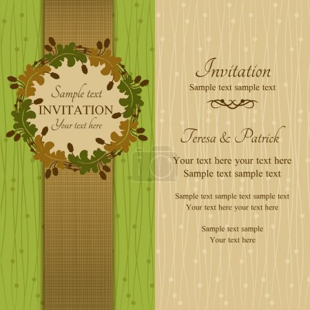 Illustration for Autumn or summer invitation, oak round frame with acorns, green, brown and beige - Royalty Free Image