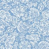 Baroque pattern with birds and flowers blue