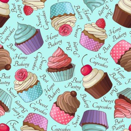 Cupcake pattern, blue