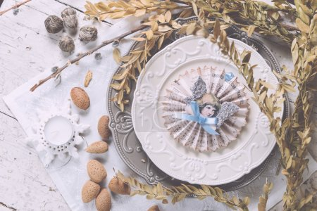 Christmas decoration table servise with almonds, cutlery and oth