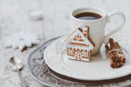 Merry Christmas composition with coffee and gingerbread sweets a