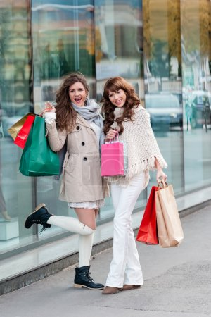 Shopping together and having fun.