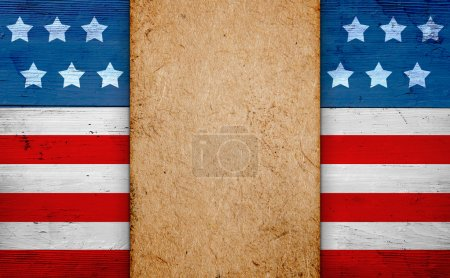 Photo pour Patriotic american background with copy space, old paper over us flag, fourth of july - image libre de droit