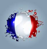 Vector illustration of water droplets with a French flag
